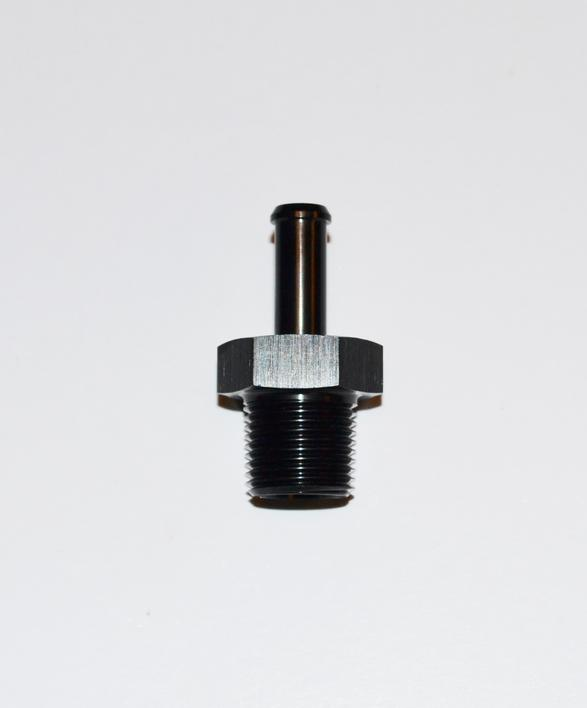 "1/2 NPT Gevind - 3/8"" ( 9,53mm ) Slangestuds 0° Sort"""
