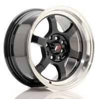 JR Wheels JR12 15x7,5 ET26 4x100/108 Gloss Black w/Machined Lip